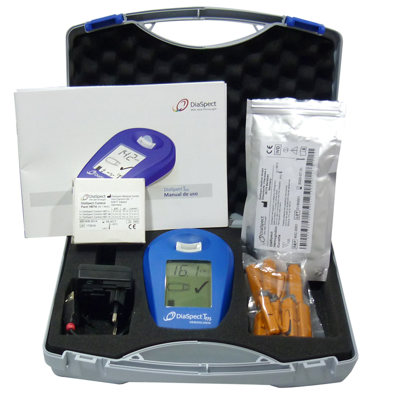 Analizador de Hemoglobina Kit Maletín DiaSpect Tm BT con Bluetooth